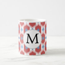 personalized monogram Ikat red and blue Coffee Mug
