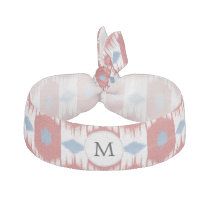 personalized monogram Ikat red and blue Hair Tie
