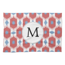 personalized monogram Ikat red and blue Hand Towel
