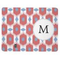 personalized monogram Ikat red and blue Journal