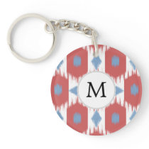 personalized monogram Ikat red and blue Keychain