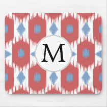 personalized monogram Ikat red and blue Mouse Pad