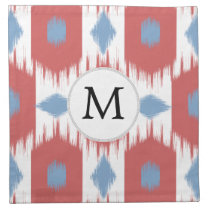 personalized monogram Ikat red and blue Napkin