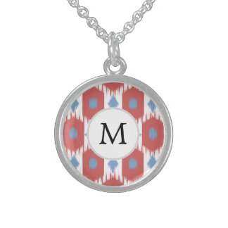 personalized monogram Ikat red and blue Necklaces