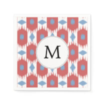 personalized monogram Ikat red and blue Paper Napkin