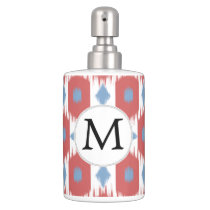 personalized monogram Ikat red and blue Soap Dispenser & Toothbrush Holder