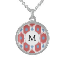 personalized monogram Ikat red and blue Sterling Silver Necklace