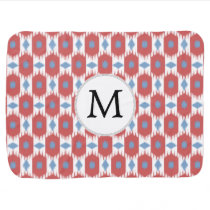 personalized monogram Ikat red and blue Stroller Blanket