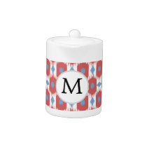 personalized monogram Ikat red and blue Teapot