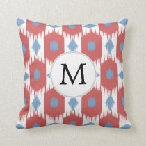 personalized monogram Ikat red and blue Throw Pillow