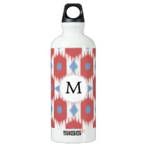 personalized monogram Ikat red and blue Water Bottle