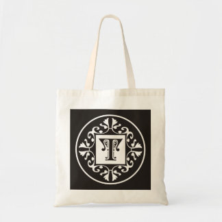Personalized Monogram In Black and White~Initial T Bag