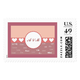 Personalized Monogram in Circle Postage Stamps