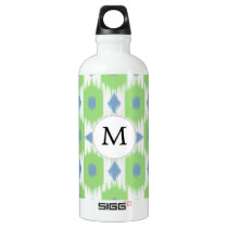 personalized monogram in Ikat  green and blue Aluminum Water Bottle