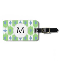 personalized monogram in Ikat  green and blue Bag Tag