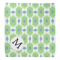 personalized monogram in Ikat  green and blue Bandana