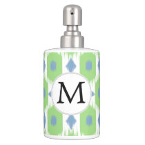 personalized monogram in Ikat  green and blue Bath Set