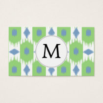 personalized monogram in Ikat  green and blue Business Card