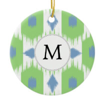 personalized monogram in Ikat  green and blue Ceramic Ornament