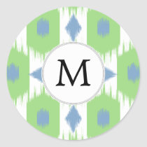 personalized monogram in Ikat  green and blue Classic Round Sticker