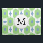 """personalized monogram in Ikat  green and blue Cloth Placemat<br><div class=""""desc"""">custom personalized monogram in Ikat  green and blue</div>"""