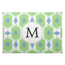 personalized monogram in Ikat  green and blue Cloth Placemat