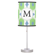 personalized monogram in Ikat  green and blue Desk Lamp