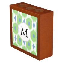 personalized monogram in Ikat  green and blue Desk Organizer