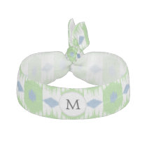 personalized monogram in Ikat  green and blue Elastic Hair Tie