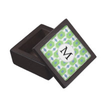 personalized monogram in Ikat  green and blue Gift Box