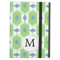 personalized monogram in Ikat  green and blue iPad Air Case