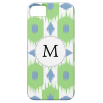 personalized monogram in Ikat  green and blue iPhone SE/5/5s Case