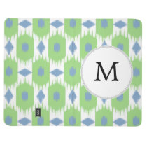 personalized monogram in Ikat  green and blue Journal