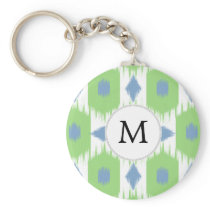 personalized monogram in Ikat  green and blue Keychain