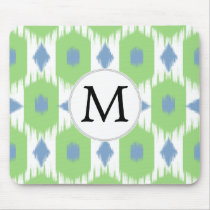 personalized monogram in Ikat  green and blue Mouse Pad