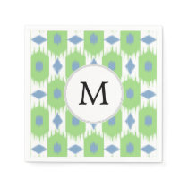 personalized monogram in Ikat  green and blue Napkin