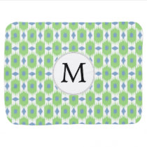 personalized monogram in Ikat  green and blue Receiving Blanket