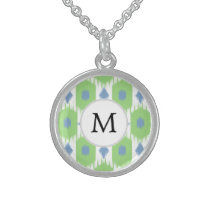 personalized monogram in Ikat  green and blue Sterling Silver Necklace