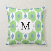 personalized monogram in Ikat  green and blue Throw Pillow