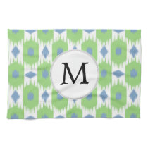 personalized monogram in Ikat  green and blue Towel