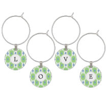 personalized monogram in Ikat  green and blue Wine Glass Charm