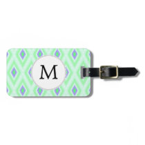 personalized monogram in Ikat  mint purple Luggage Tag