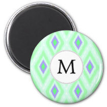 personalized monogram in Ikat  mint purple Magnet