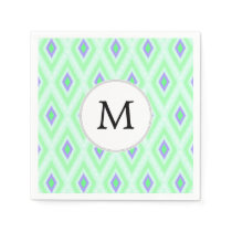 personalized monogram in Ikat  mint purple Paper Napkin