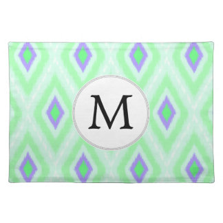 personalized monogram in Ikat  mint purple Placemat