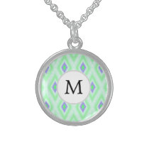 personalized monogram in Ikat  mint purple Sterling Silver Necklace