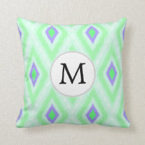 personalized monogram in Ikat  mint purple Throw Pillow