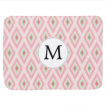 personalized monogram in Ikat Pink and  mint Baby Blanket
