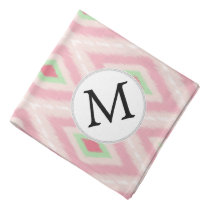 personalized monogram in Ikat Pink and  mint Bandana
