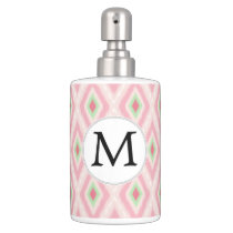 personalized monogram in Ikat Pink and  mint Bathroom Set